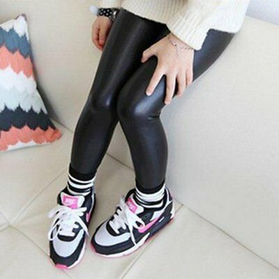 Cute Baby Girls Kids Stretchy Faux Leather Skinny Pants Leggings Trousers 2-7Yrs