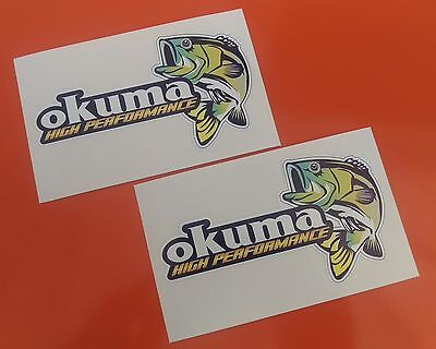 2 X Okuma Bass Fishing Decal Stickers /tacklebox/boat/kayak/car/van