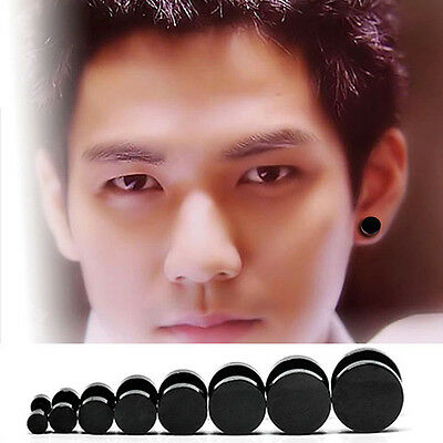 Stainless Steel Mens Ear Stud Earring Gothic Punk Silver Black