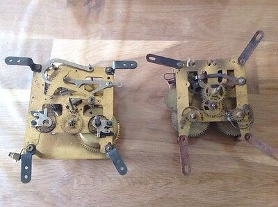 Antique Vintage Two Chiming Clock Movement For Parts Or Restoration