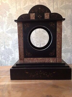Antique Marble And Slate  Clock Case Parts 33X27X16cm For Restoration