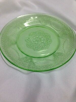 "Vintage Federal Georgian Lovebirds Green Depression Glass 6"" Bread& Butter Plate"