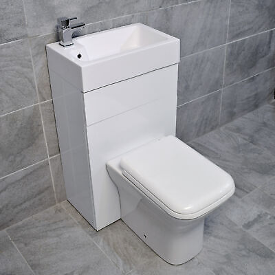All In One Space Saving Vanity Unit Toilet + Sink Basin In Cloak En-Suite Set