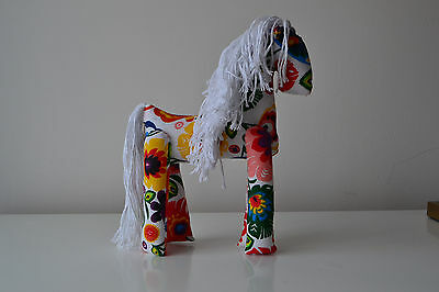 White with multicoloured fabric hand made soft toy horse.Original christmas gift