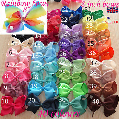 "8"" Inch Extra Large Bow Hair knot Clips Girls Ribbon Bows lot Kids clip Big"