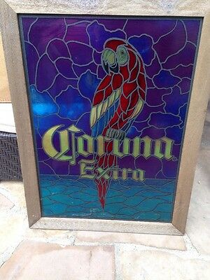 Corona Extra Sign withTranslucent Simulated Stain Glass