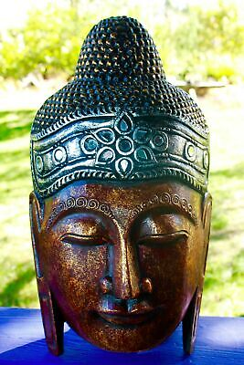 """Sublime Buddha Mask Wall Art Hand Carved Wood Balinese Handmade Red 20"""""""