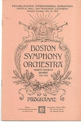 Boston Symphony Orchestra – Festival Hall PPIE Grounds - Panama Pacific Booklet