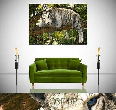 White Tiger Elf Gaming Fantasy Large Poster Wall Art Print A0 A1 A2 A3 Maxi