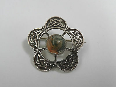Vintage Mid Century Celtic Knot Silver & Moss Agate Brooch c.1940's