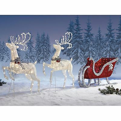 2 Deer with Sleigh LED Set Christmas Indoor / Outdoor Decoration