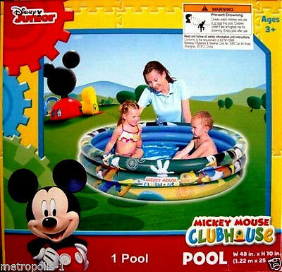 "Disney Jr Mickey Mouse Clubhouse,3 Ring Inflatable 48"" Swimming Pool,kids 3+,new"