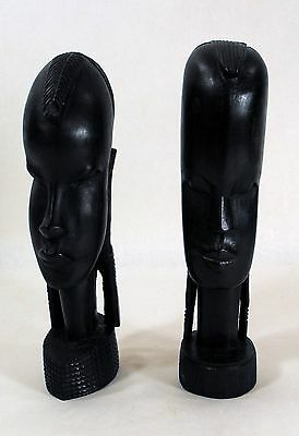 Vintage Pair African Wood Carved Tribal Art Head Bust Ethnic Statues 0041010