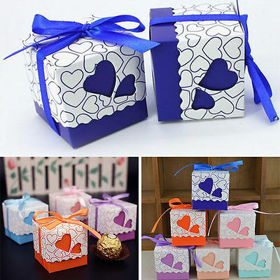 50/100Pc Love Heart Wedding Favour Favor Sweet Cake Gift Candy Boxes Table Decor