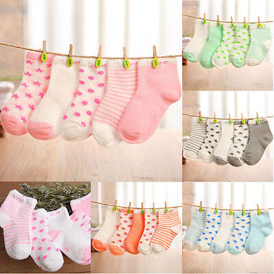 Lots 5 pairs Cute Baby Girls Toddler Kids Child Cotton NewBorn Infant Soft Socks
