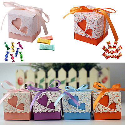 NEW 50/100Pcs Love Heart Candy Box Wedding Party Favor Bags Ribbon Decor Gift