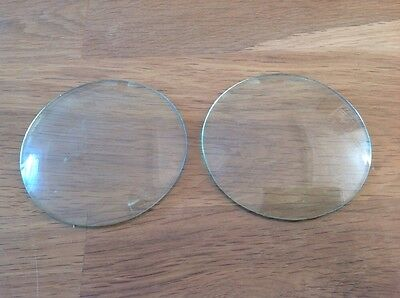 Vintage Two Clock Glass Round Convex 78mm One Pair