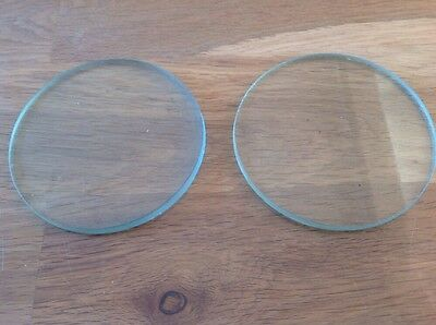 Vintage Two Thick Glass Lens Or Clock Glass Round Flat Ground Edge 95mm One Pair