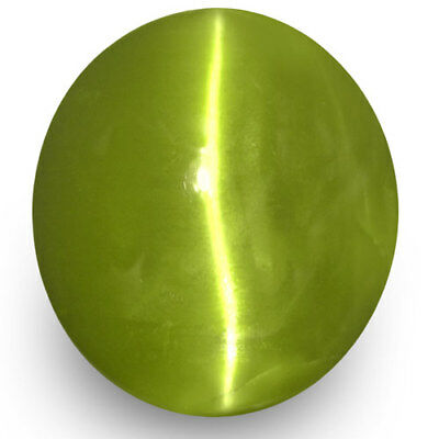 2.96-Carat Yellowish Green Chrysoberyl Cat's Eye from Orissa, India