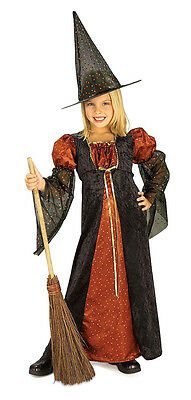 Orange Glitter Witch Child Costume Halloween Girls Kids Fancy Dress Medium 8-10