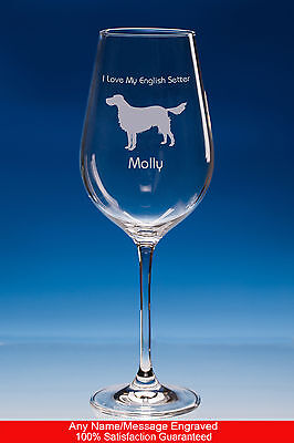 English Setter Dog Gift Personalised Engraved Fine Quality Wine Glass