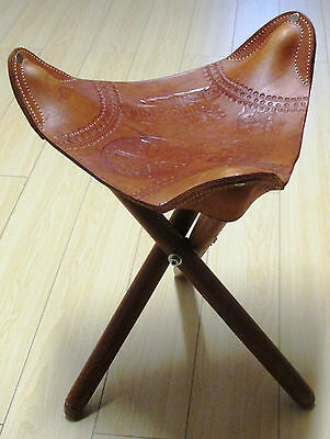 Vintage leather folding stool, Milking Stool Style, Hand Crafted in COSTA RICA