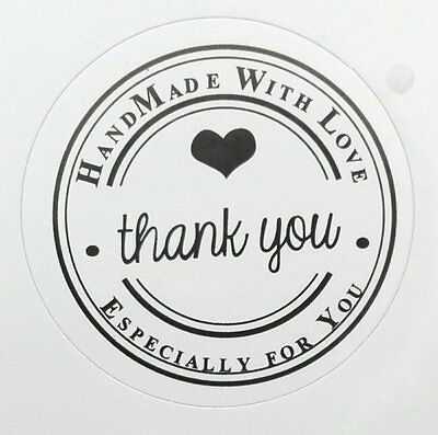 "30 30mm Etichette adesive Tonde con scritta ""Handmade whit Love - Thank you"""