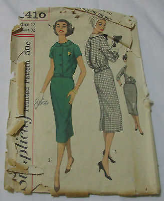 Vintage Simplicity 1950's Pattern 2410 Two Piece Middy Dress Size 12 Bust 32