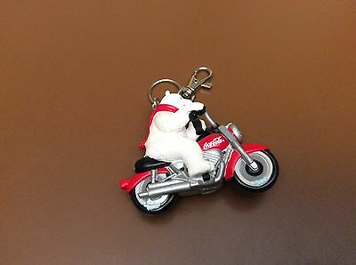 Vintage Coca-Cola Rubber Polar Bear On Motorcycle Flashlight Keychain Nwt