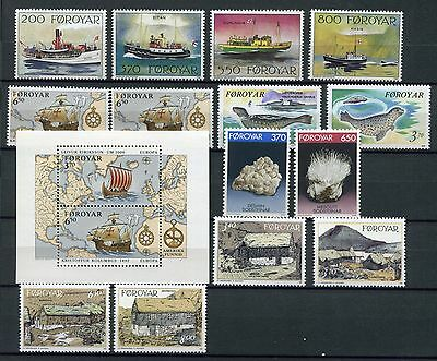 FAROE ISLANDS 1992 MNH COMPLETE YEAR 14 Stamps + SHEET