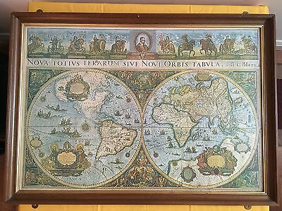 Very Large Vintage World Map, Framed (1m 5cm x 75cm)