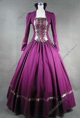 Victorian Gothic Dress Gown Theater Women Christmas Dickens Caroling Costume 111