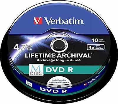 1x10 Verbatim M-Disc DVD R 4,7GB 4x Speed, inscriptible [Non Applicable NEUF