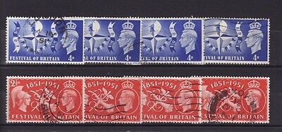 GREAT BRITAIN 1951 FESTIVAL STAMPS x 4 SETS USED