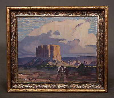 Carl Redin Painting Enchanted Mesa, Original Oil Painting with Documentation