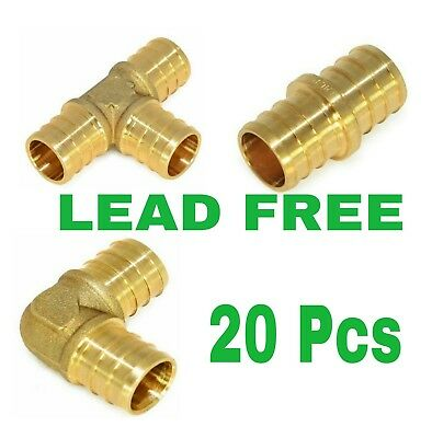 "(20) 1/2"" Brass Pex Fittings -Elbow,coupler, Tee"