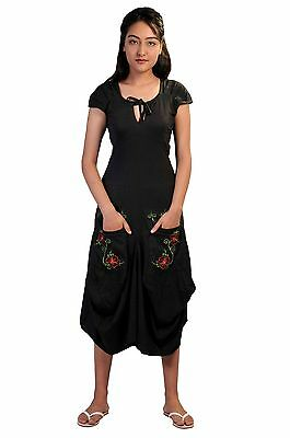 Women's Short Sleeve Calf Length Dress With Flower Embroidery On Pockets