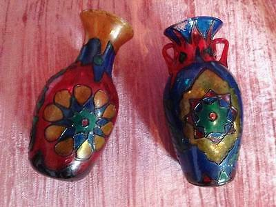 Two Antique Othmani Colourful Glass Vases 19Th Ct. Free Shipping