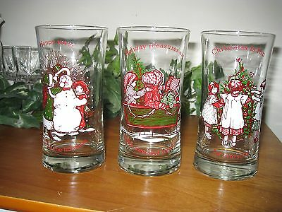 holly hobbie christmas drinking glasses set of 3 vintage american greetings - Christmas Drinking Glasses