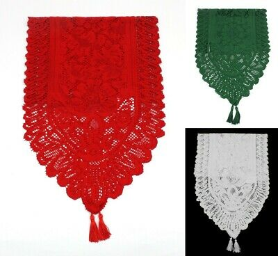 Christmas Lace Table Runner XMAS Decoration Red White Green 33x180/150/130/90cm