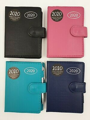 2019 MIDI Organiser Diary, Address Book & Pen - Navy Black Turquoise Pink