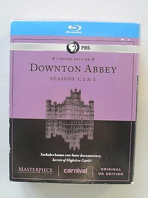 Masterpiece: Downton Abbey - Seasons 1-3 + Bonus (Blu-ray, 2013, 9-Disc Set)