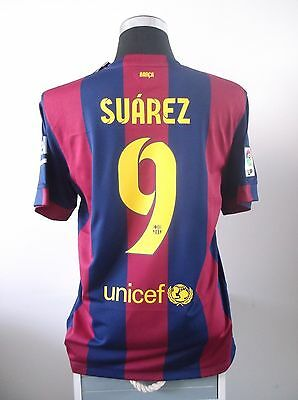 Luis SUAREZ #9 BNWT Barcelona Home Football Shirt Jersey 2014/15 (L)