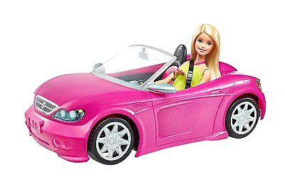 Barbie Glam Convertible Car Doll Mattel Hot Seats And Shine Nib Vehicle Pink