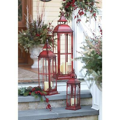"St/3 Large Elegant Red Lanterns w/Delicate Open Filagree - 20"" to 37"" High"