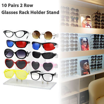10 Pairs 2 Row Sunglasses Eyeglasses Glasses Rack Holder Frame Display Stand