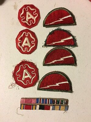 LOT OF 8 VINTAGE MILITARY PATCH ARMY PATCHES and Service Ribbons