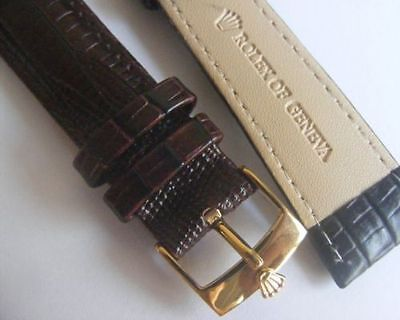 Rolex Band 20Mm Leather Brown , Watch Gold Plated Buckle