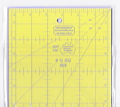"6.5"" x 6.5"" square ruler - for patchwork, crafting - use with rotary cutter"