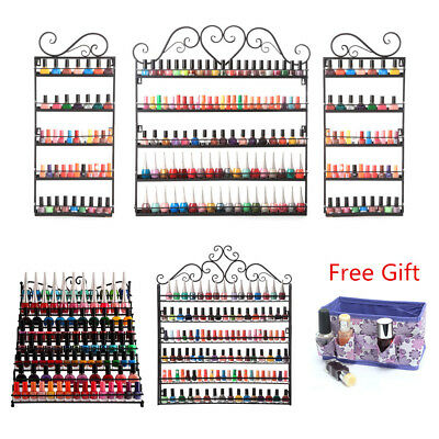 White 5 Tier Metal Nail Polish Perfume Display Wall Mount Rack Stand Holds 200+